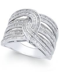 baguette ring diamond baguette interwoven statement ring 1 ct t w in