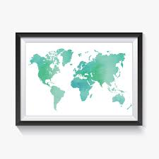 map sea foam green world map world map print green map