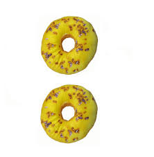 Cushion Donut Donut Pattern Pillow Chair Pad Seat Cushion Set Of 2 Yellow