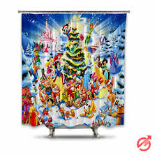 Disney Shower Curtains by Disney Characters Christmas Shower Curtain Cheap