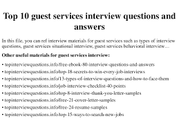 top 10 guest services interview questions and answers