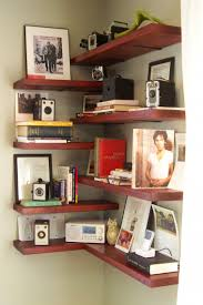 Home Interior Frames Interior Dark Brown Wooden Floating Corner Shelves On The Wall