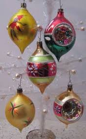 7 vintage glass ornaments oblong teardrop