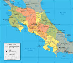 political map of central america and the caribbean costa rica map and satellite image