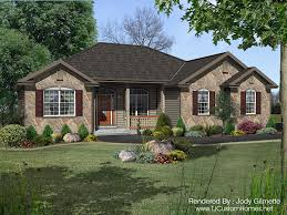 ranch style stone veneer houses softplan home building plans