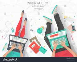concept working home relaxation work wherever stock vector