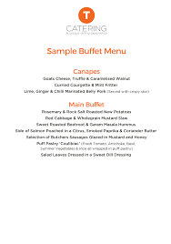 Sample Buffet Menus by T Catering A Unique Dining Experience