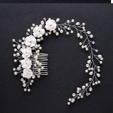 pearl hair accessories luxury wedding hair jewelry for bridal white flowers pearl