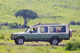 african safari car open roof 4x4 safari jeep on african wildlife safari stock photo