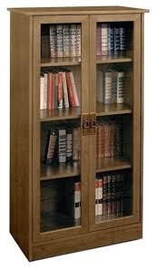 Bookcases With Glass Shelves Ameriwood 4 Shelf Glass Door Barrister Bookcase In Inspire Cherry