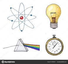 atom and prism light bulb and compass engraved hand drawn in old