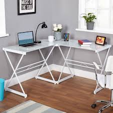 Office Computer Desk Atrium Metal And Glass L Shaped Computer Desk Multiple Colors