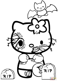 hello kitty halloween zombie coloring page free printable