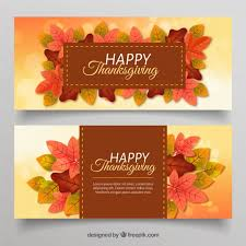 thanksgiving banners with leaves vector free
