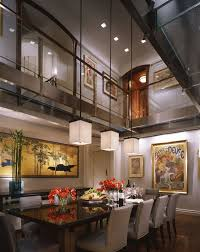 Lighting For High Ceilings Contemporary Dining Room With Hardwood Floors High Ceiling