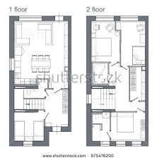 two story apartment floor plans drawing plan two story apartment stock illustration 675476200