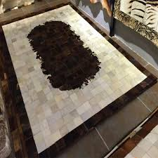 Patchwork Area Rug Brown Ivory Grey White Cow Hide Patchwork Area Rug