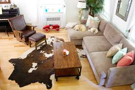 cowhide rug living room ideas trends with for retro decor