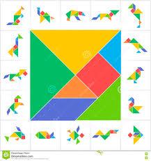 tangram set wild animals birds amphibians and fish stock vector