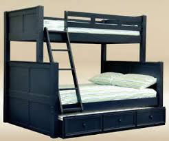 NEW COTTAGE NAVY BLUE TWIN FULL BIRCH WOOD BUNK BED W TRUNDLE BED - Navy bunk beds