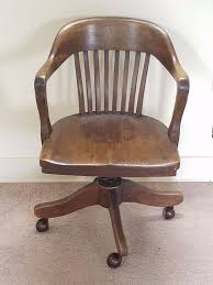 Desk Arm Chair Design Ideas Vintage Antique Barrel Oak Wood Swivel Office Bankers Library Desk