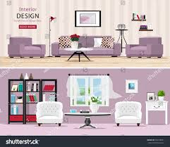 Modern Living Furniture Cute Rooms Set Cozy Classic Modern Stock Vector 536730931