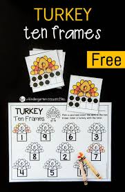 turkey ten frame math subitizing number recognition and