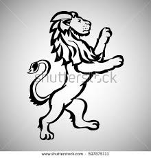 illustration hand drawn liontattoo design element stock vector