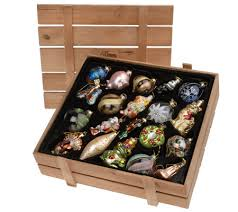 pacconi set of 20 blown glass ornaments with wooden box