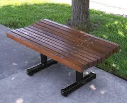 backless boulevard white oak or redwood park bench belson outdoors