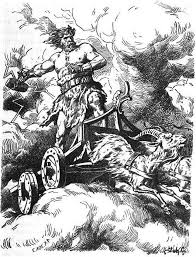 thor rides through the sky in his chariot drawn by the billy goats