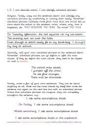 grammar verbs adverbs adverbial phrases fronted adverbials