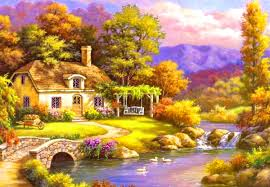 beautiful house wallpaper beautiful house river and trees hd wallpaper 01873