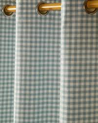 Eyelet Curtains Cotton Gingham Check Blue Ready Made Eyelet Curtains Homescapes