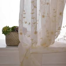 Cotton Gauze Curtains Sheer Curtain Voile Panel With Cotton Embroidery Pattern One