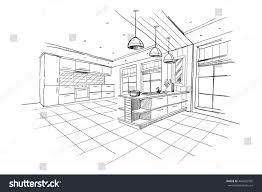 interior sketch modern kitchen island stock vector 404225995