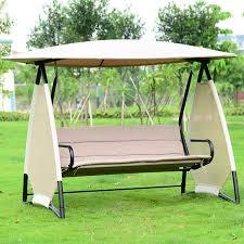 hammock bench outdoor covered swing bench w canopy seats 3 garden backyard patio