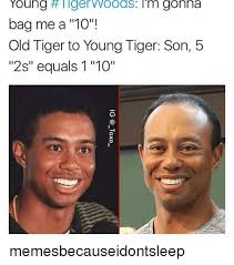 Tiger Woods Meme - young tiger woods i m gonna bag me a 10 old tiger to young tiger