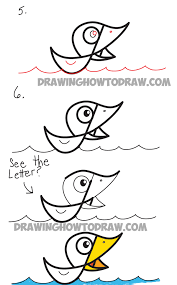 how to draw cartoon duck on water from cursive letter f drawing