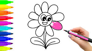 how to draw funny flower simple examples of painting for kids