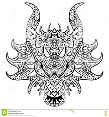 black and white sketch dragon head zen tangle stock vector image