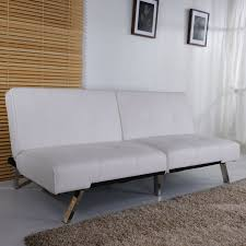 royale white faux leather sofa bed fold down armless guest bed for