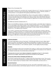 Curriculum Vitae Sample Format Thesis by General Cv Template 1 Free Templates In Pdf Word Excel Download