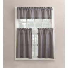 3 Piece Curtain Rod Mainstays Solid 3 Piece Kitchen Curtain And Valence Set Walmart Com