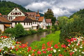 Beautiful Mountain Houses Houses Village Germany Colorful Grass Serenity Peaceful Flower