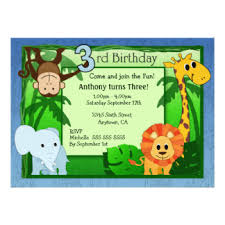 Jungle Birthday Card Jungle Theme Birthday Invitations Announcements Zazzle