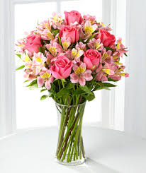 next day delivery flowers pink roses and alstroemeria with vase next day flower delivery