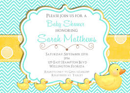 duck baby shower invitations rubber ducky baby shower invitation teal and yellow chevron
