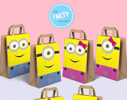 minion gift bags despicable me etsy