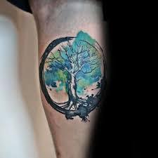 leg calf tree of watercolor shaded green paint brush stroke
